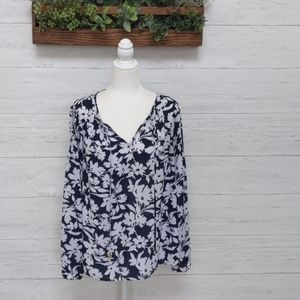 Michael kors navy blue and white floral blouse.